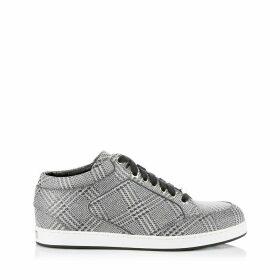 MIAMI Sneaker aus silbernem Glitzergewebe mit Prince of Wales Checkmotiv