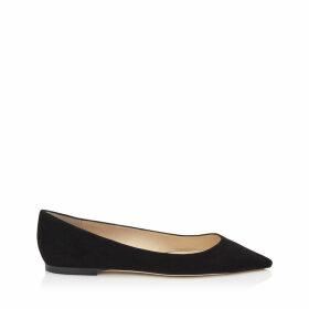 ROMY FLAT Flache spitze Schuhe aus schwarzem Wildlleder