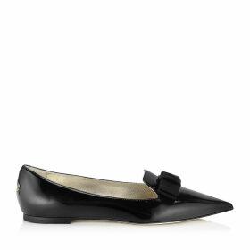 GALA Spitze flache Schuhe aus schwarzem Lackleder mit Schleife