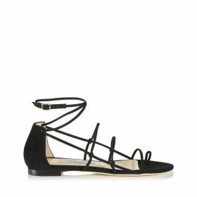 SPHYNX FLAT Flache Sandaletten aus Wildleder in Schwarz mit feinen Riemchen