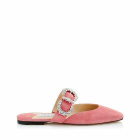 GEE FLAT Flache Sandaletten aus Wildleder in Zuckerwatte mit schmucksteinbesetzter Schnalle