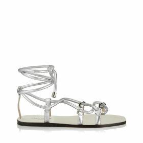 AZIZA FLAT Flache Sandalen aus silbernem Nappaleder in Metallic-Optik