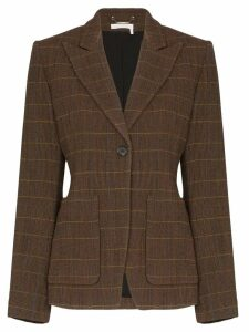 Chloé check peaked lapel blazer - Brown