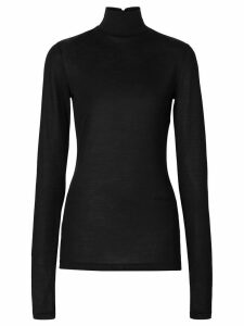 Burberry Silk Jersey Turtleneck Top - Black