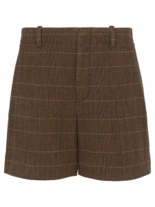 Chloé check weave shorts - Brown