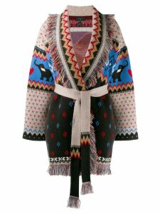 Alanui fringed hem belt cardigan - Black