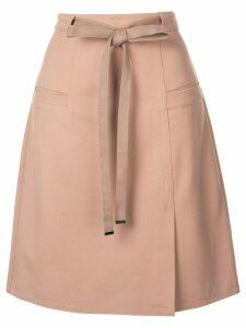 Tibi Bond Stretch Knit A-Line Skirt - Neutrals