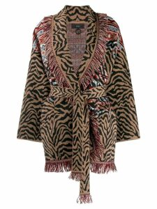 Alanui animal print fringed cardigan - Brown