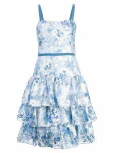 Marchesa Notte flared floral dress - Blue