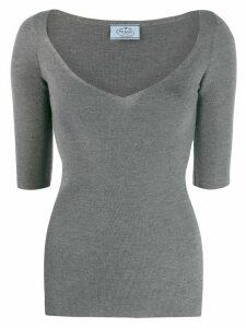 Prada wide v-neck knit top - Grey