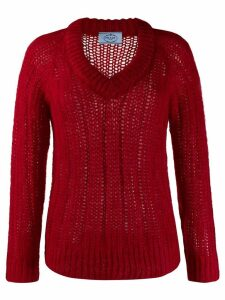 Prada chunky knit v-neck jumper - Red