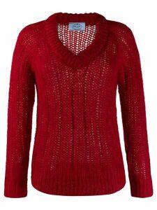 Prada chunky knit v-neck jumper - Red