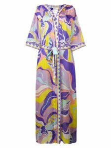 Emilio Pucci Rivera Print Silk Hooded Cover-up - PURPLE