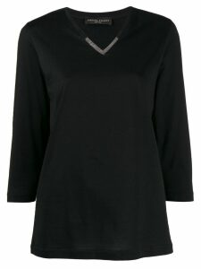 Fabiana Filippi embellished 3/4 sleeves T-shirt - Black