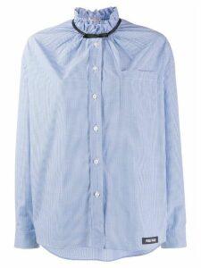 Miu Miu collar-bow check shirt - Blue