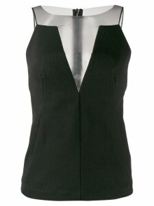 Rick Owens sheer-panelled crepe blouse - Black