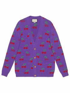Gucci Wool cardigan with GG jacquard cherries - PURPLE