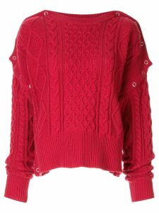Maison Mihara Yasuhiro cable knit slouchy sweater - Red