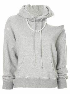 Maison Mihara Yasuhiro distressed slouchy hoodie - Grey