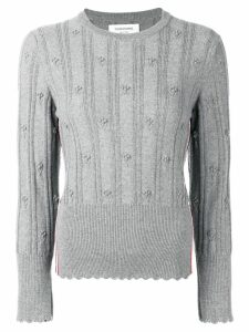 Thom Browne Flower Cable Pullover - Grey