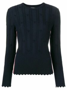 Thom Browne Flower Cable Navy Pullover - Blue