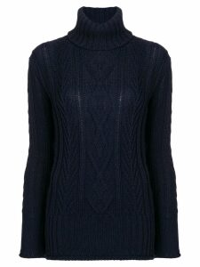 Thom Browne Center Back RWB Navy Turtleneck - Blue