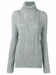 Thom Browne Center Back RWB Turtleneck - Grey