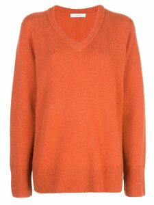 The Row fine knit V-neck sweater - Orange