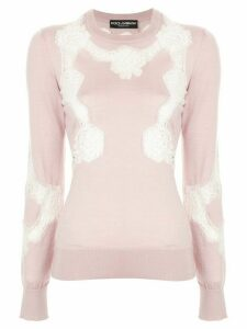 Dolce & Gabbana Chantilly lace crew neck sweater - PINK