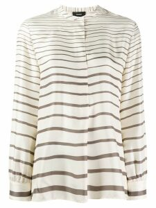 Theory striped long-sleeve top - White