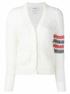Thom Browne striped sleeve bouclé knit cardigan - White