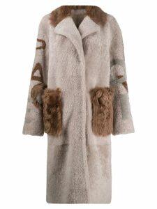 Liska oversized single-breasted coat - NEUTRALS
