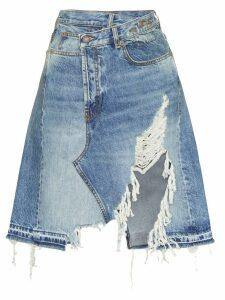 R13 Norbury asymmetric denim skirt - Blue