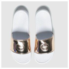 Hype White & Gold Metallic Sliders Sandals