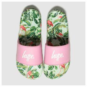 Hype Pink & Green Flamingo Sliders Sandals