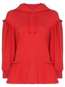 Simone Rocha ruffled trim hoodie - Red