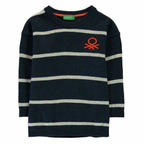 Benetton Striped Logo Jumper