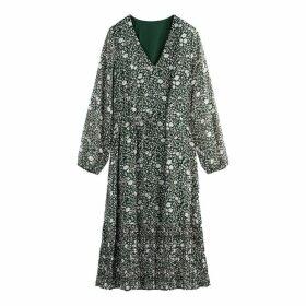 Floral Print Tie-Waist Boho Midi Dress