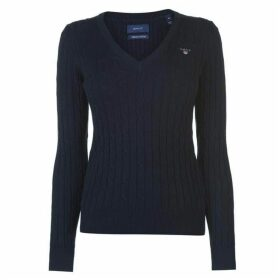 Gant Cotton Cable V Neck Jumper Ladies