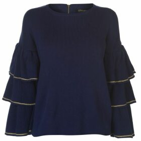 Biba Metallic Frill Sleeve Jumper Womens