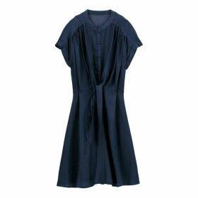 Denim Tie-Waist Flared Dress