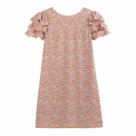 Ruffled Floral Print Dress