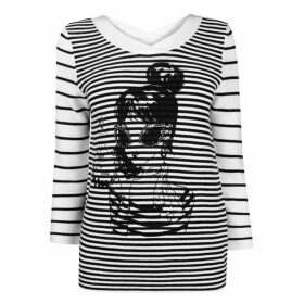 Oui Womens Printed Lola Hooped Knitted Jumper