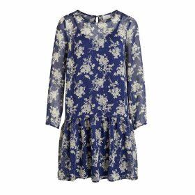 Viflexa Voile Floral Print Dress with Ruffled Drop-Waist