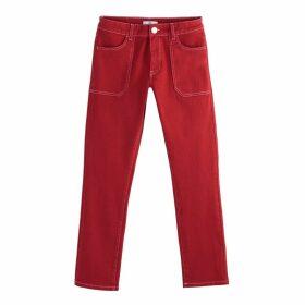 Plain Regular Straight Leg Jeans, Length 27.5