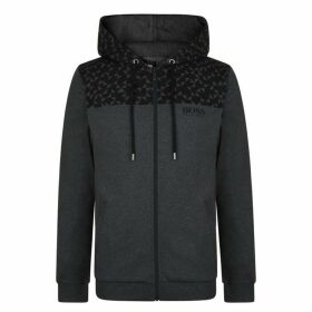 BOSS BODYWEAR Print Hooded Zip Sweatshirt