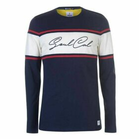 SoulCal Stripe Box Logo Long Sleeve T Shirt Mens