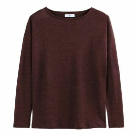 Long-Sleeved Linen T-Shirt with Boat-Neck
