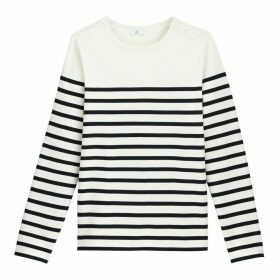 Organic Cotton Breton Stripe T-Shirt with Long Sleeves