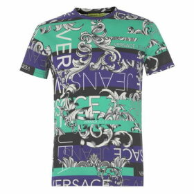Versace Jeans Couture Versace All Over Print Logo T Shirt Mens